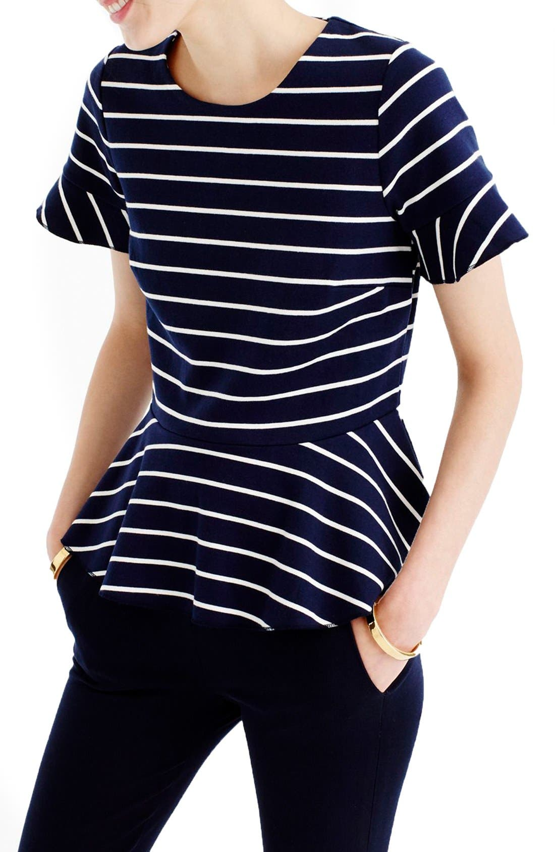 Main Image - J.Crew Stripe Structured Flounce Top