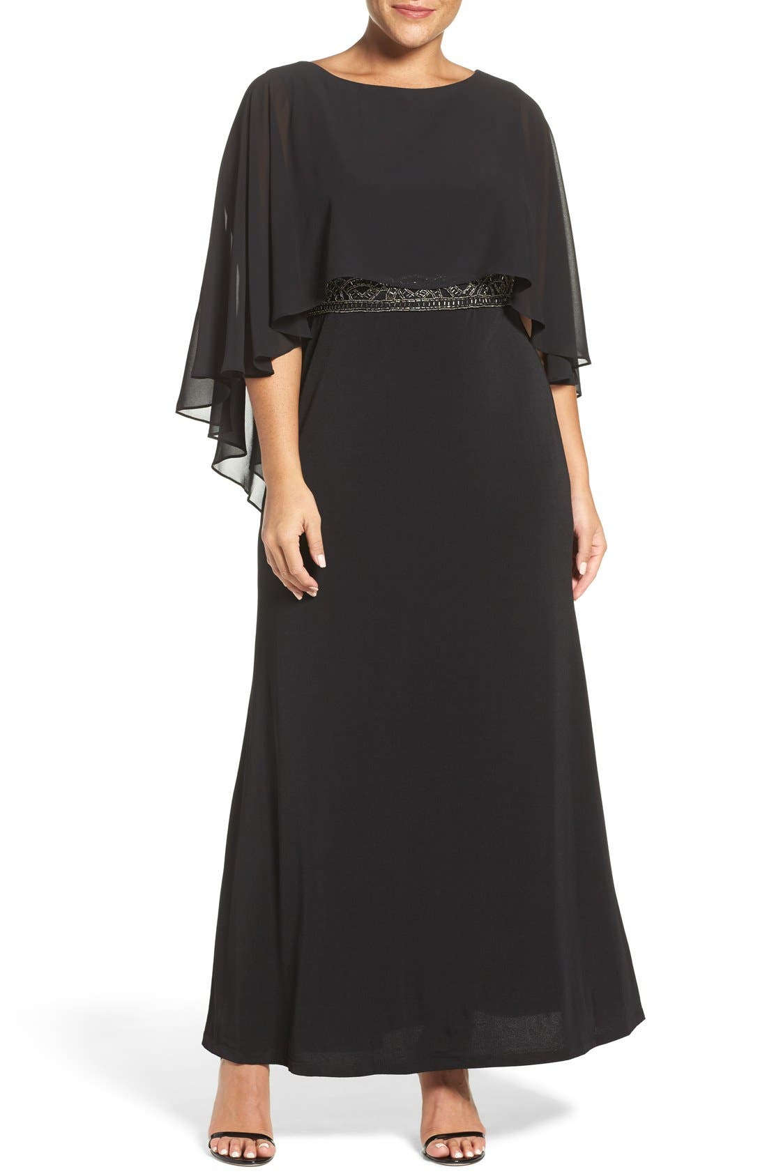 Alternate Image 1 Selected - Sangria Chiffon Capelet Overlay Embellished Waist Gown (Plus Size)