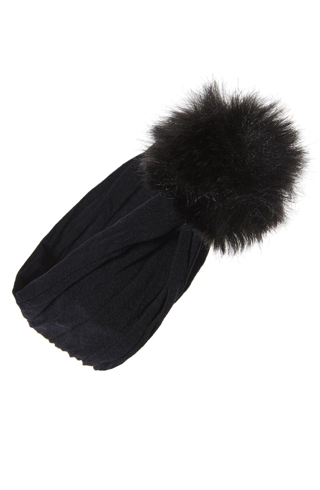 Faux Fur Pompom Headband,                             Main thumbnail 1, color,                             Black