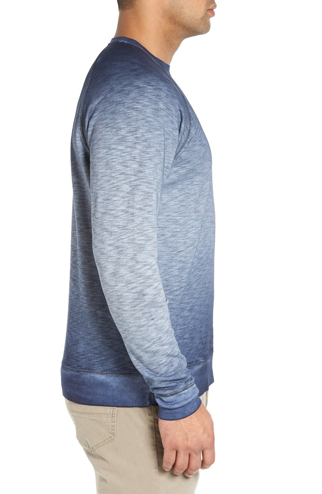 'Santiago' Ombré Crewneck Sweatshirt,                             Alternate thumbnail 3, color,                             Navy