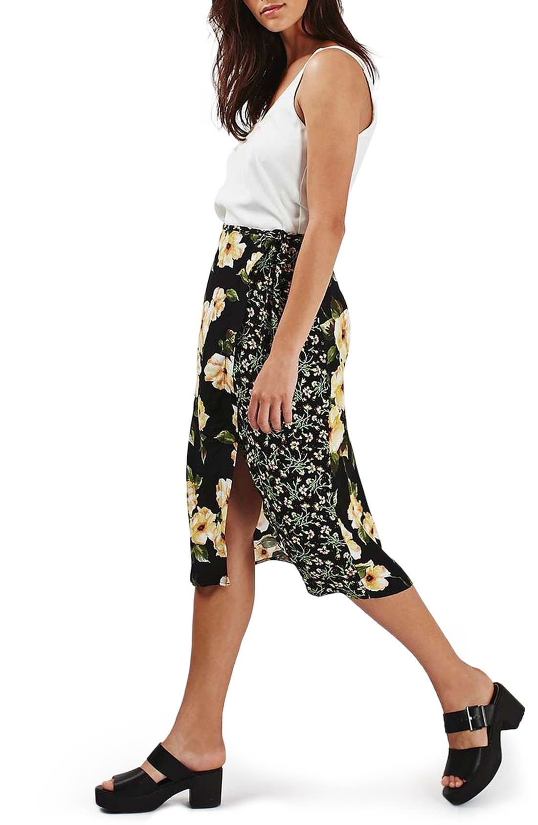 Alternate Image 2  - Topshop 'Busy Garden' Floral Print Wrap Midi Skirt