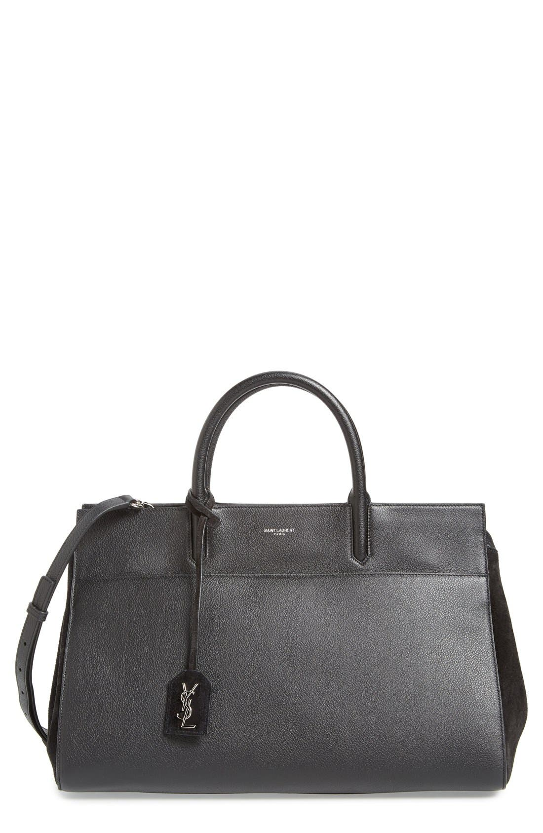 Saint Laurent 'Medium Rive Gauche' Grained Leather Satchel