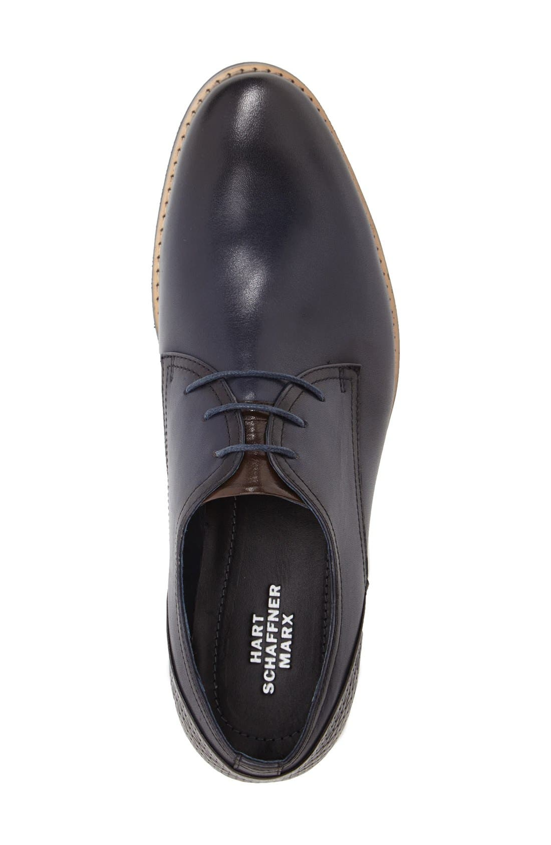 'Seattle' Plain Toe Derby,                             Alternate thumbnail 3, color,                             Navy Leather