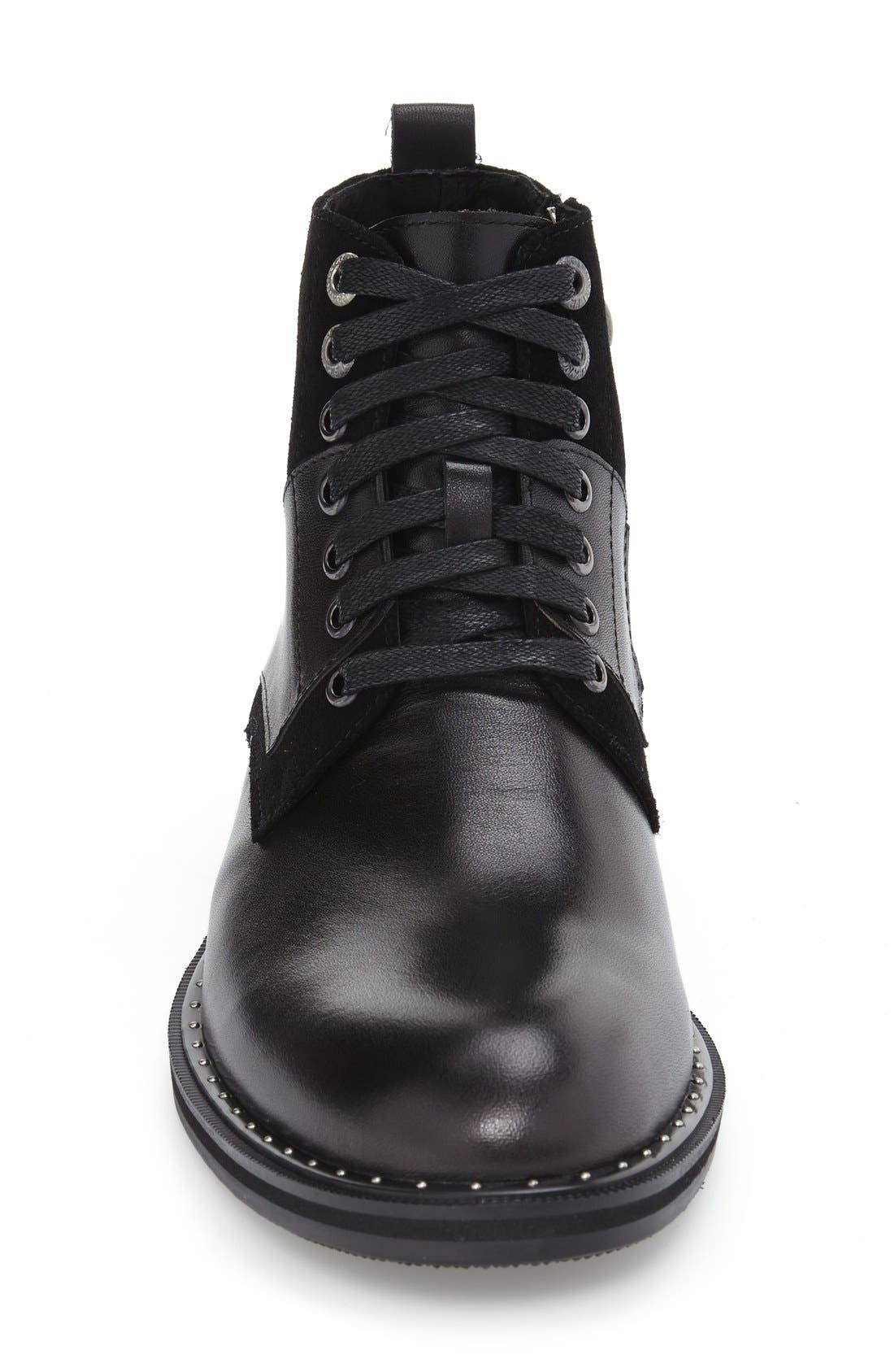 'Verona' Midi Studded Boot,                             Alternate thumbnail 3, color,                             Black