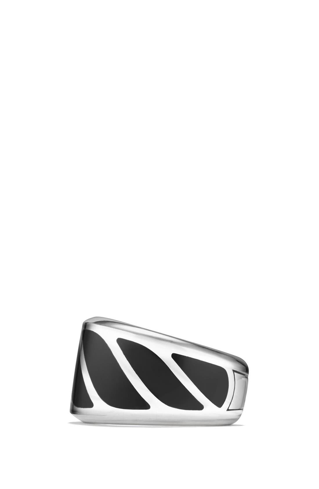 'Graphic Cable' Band Ring,                             Alternate thumbnail 2, color,                             Silver/ Black Onyx