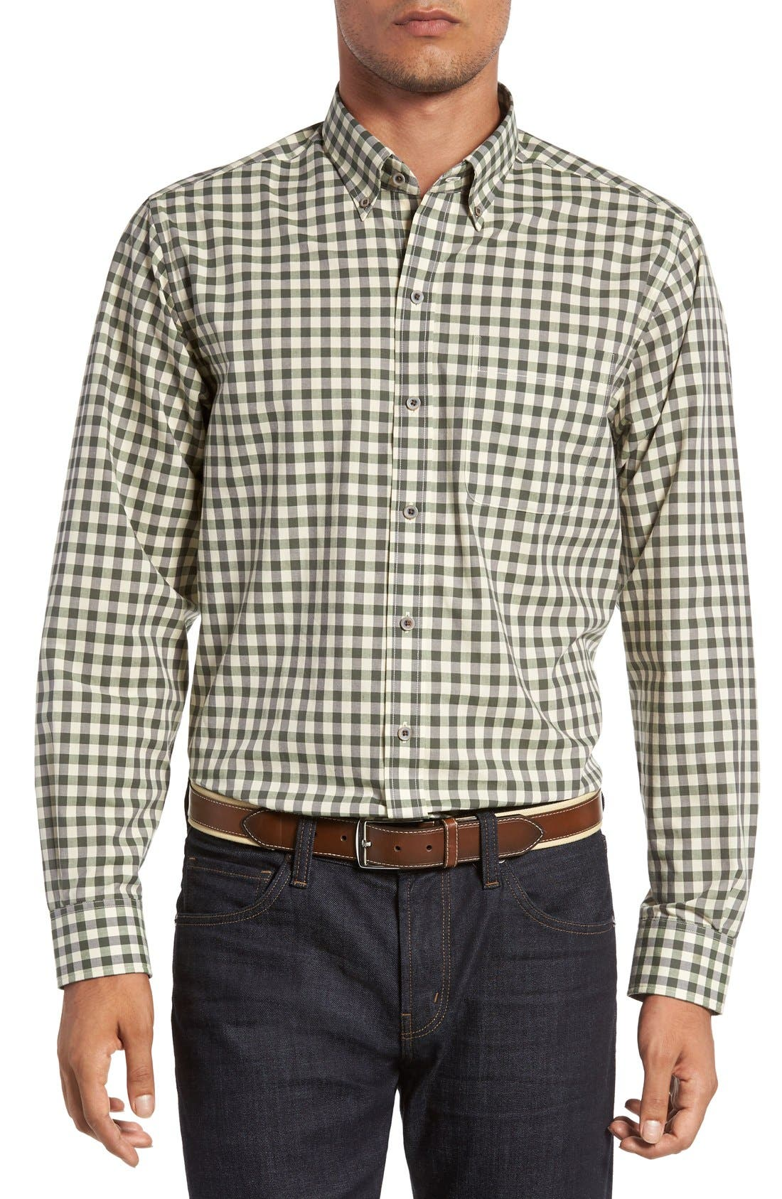 'Wildwood' Regular Fit Check Sport Shirt,                         Main,                         color, Croquet