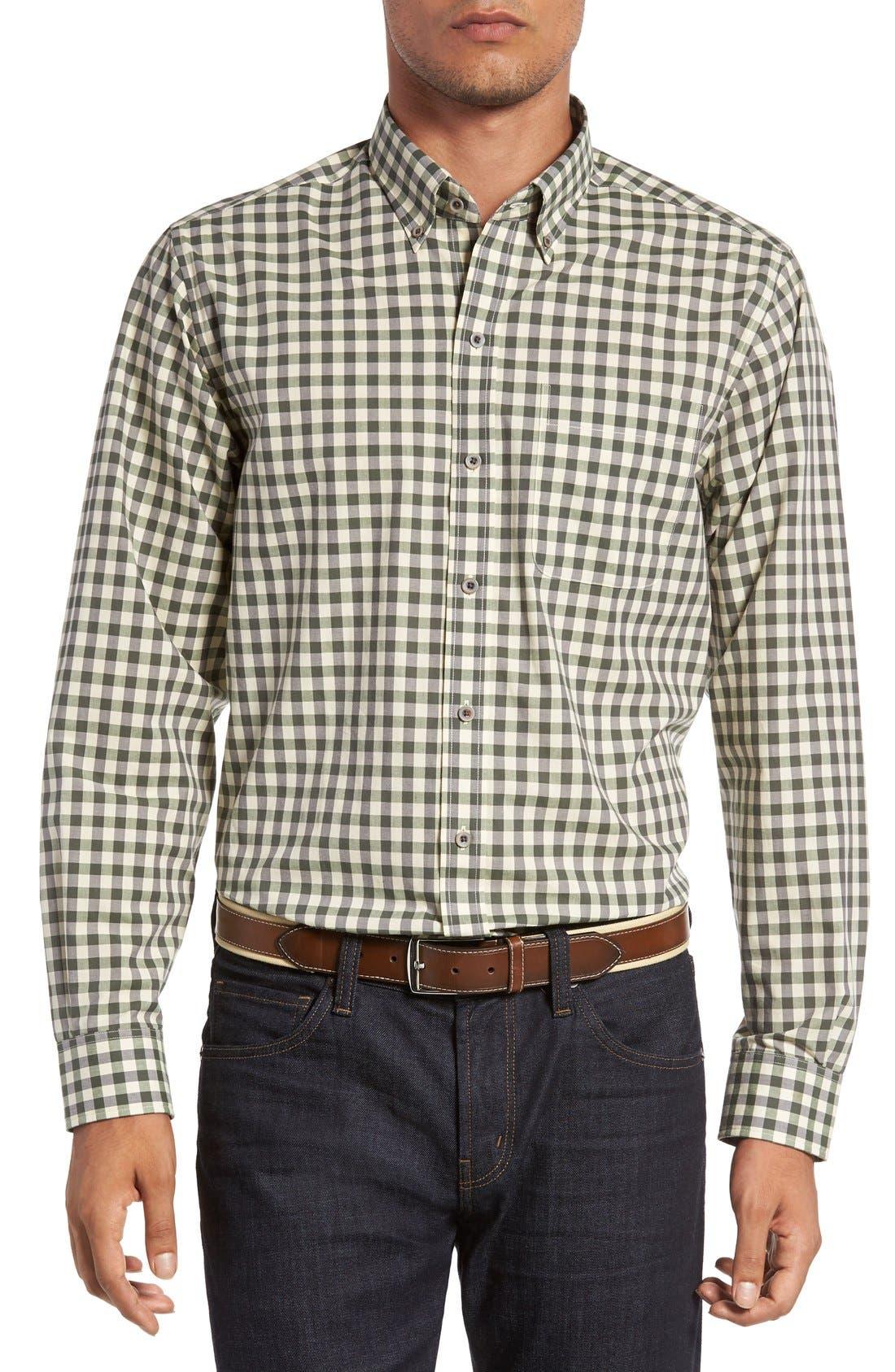 Cutter & Buck 'Wildwood' Regular Fit Check Sport Shirt (Big & Tall)