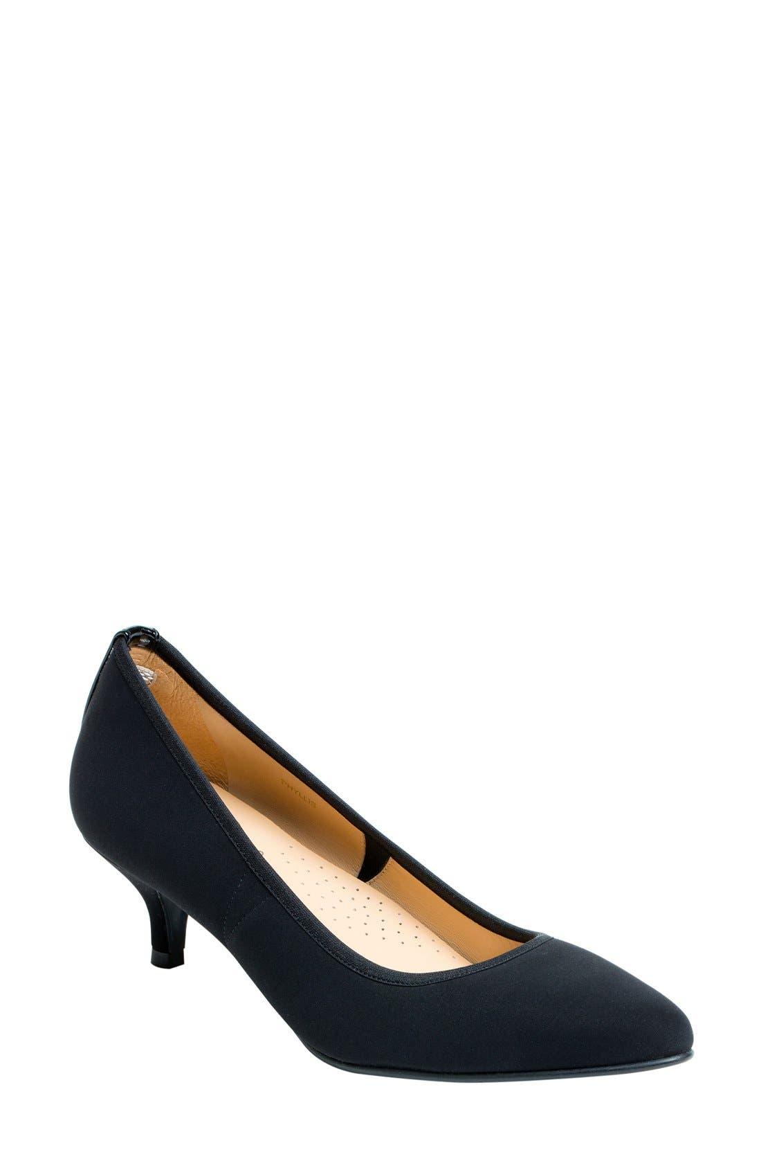 Phyllis Kitten Heel Pump,                             Main thumbnail 1, color,                             Black Fabric