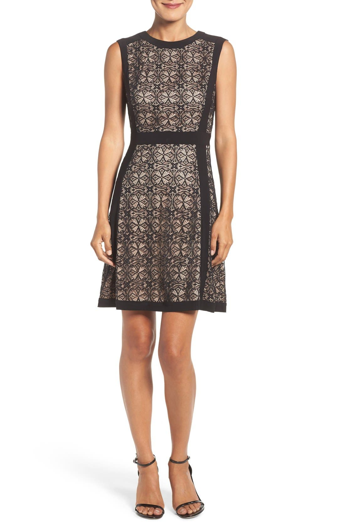 Lace Fit & Flare Dress,                             Alternate thumbnail 4, color,                             Black
