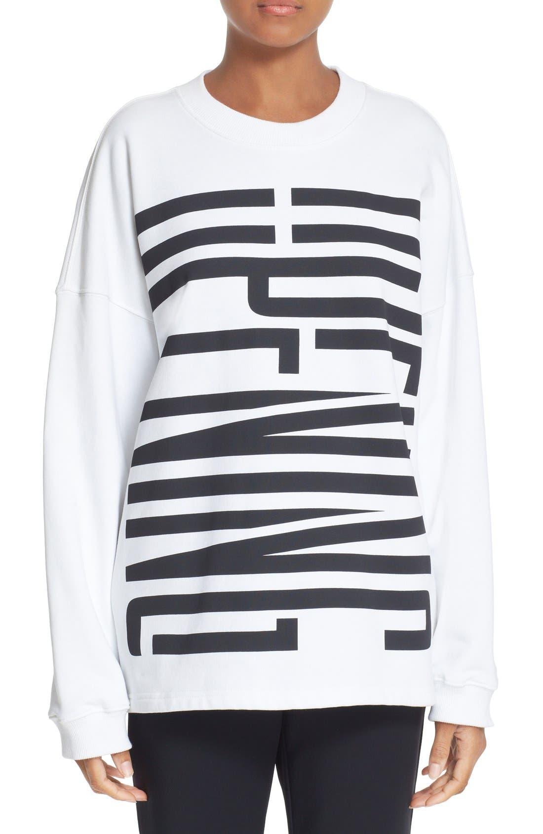 Graphic Cotton Sweatshirt,                         Main,                         color, White