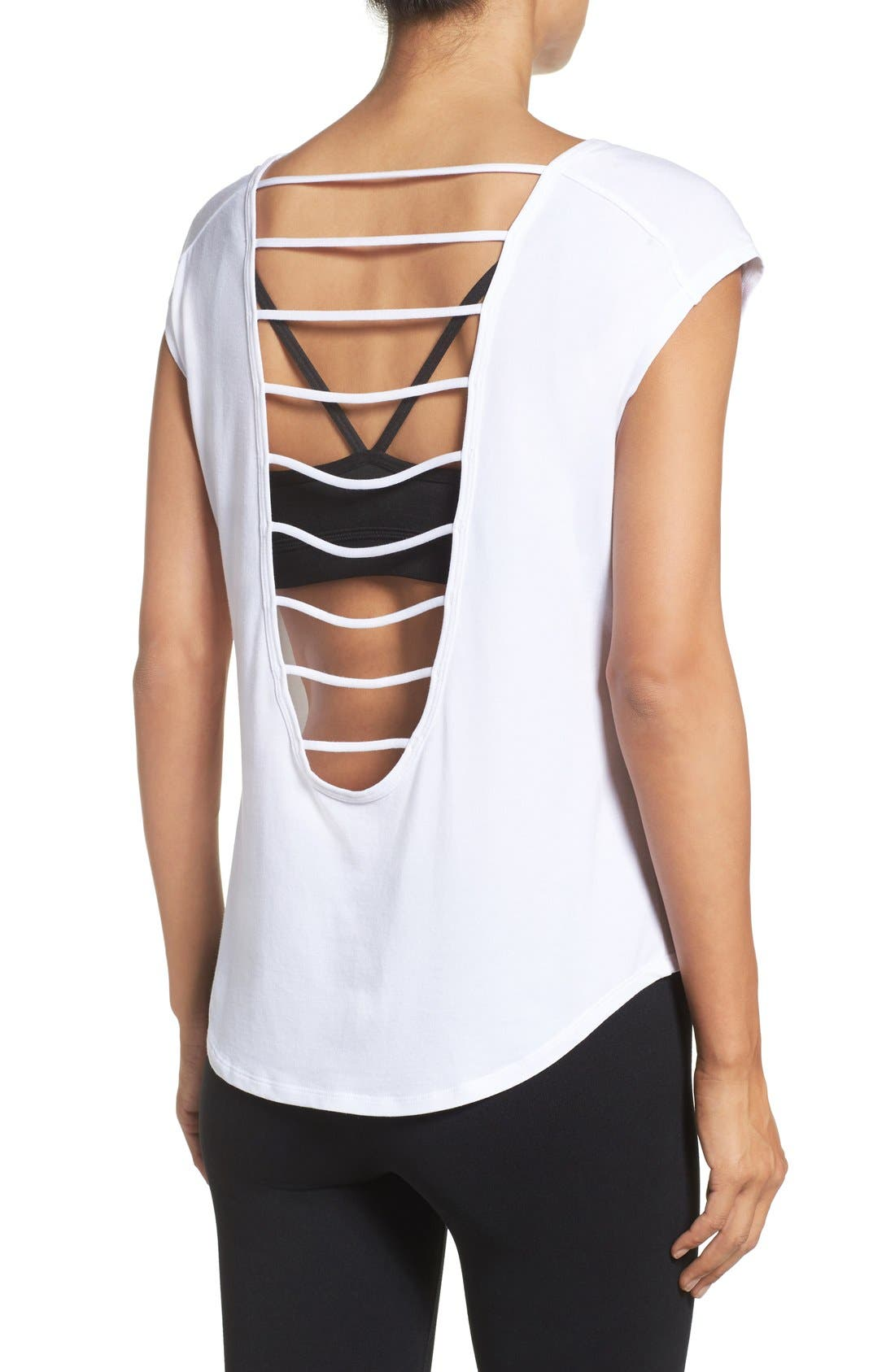Alternate Image 1 Selected - Zella Getaway Lattice Back Tee