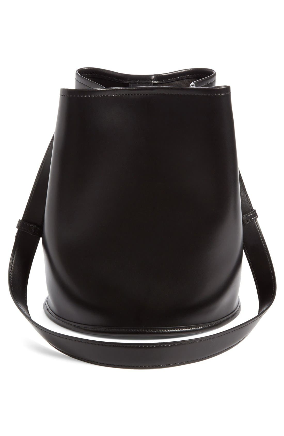 Small Leather Bucket Bag,                             Alternate thumbnail 2, color,                             Black