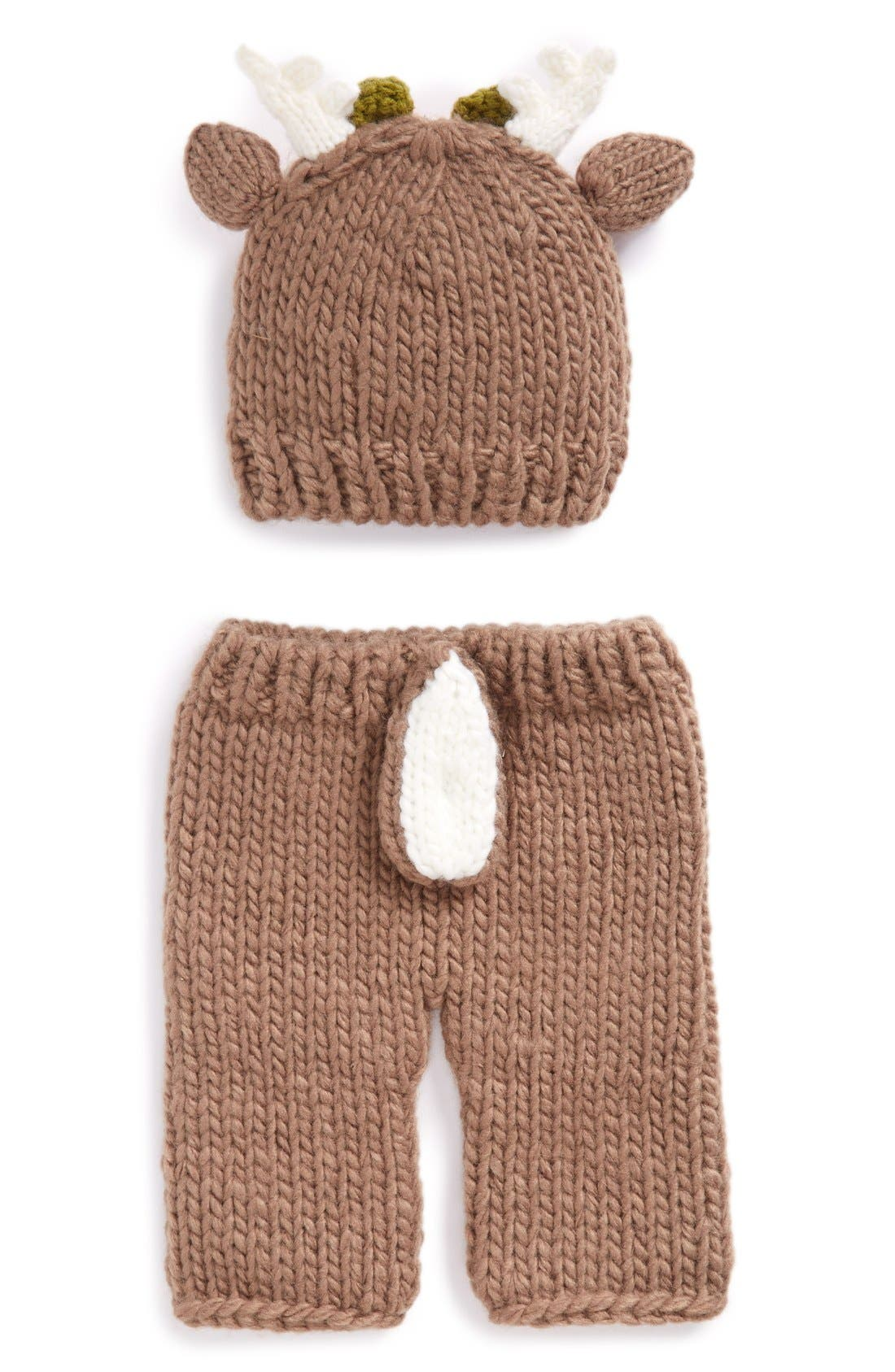 Blueberry Hill 'Hartley - Deer with Flowers' Knit Hat & Pants Set,                             Alternate thumbnail 3, color,                             Brown