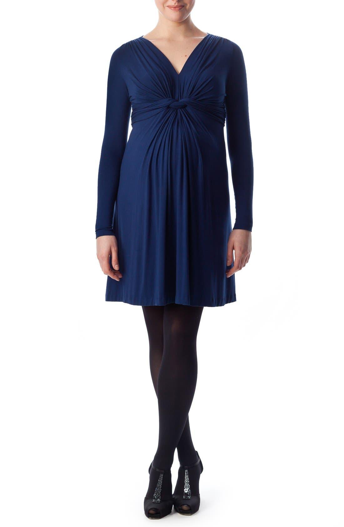 'Madonna' Draped Maternity Dress,                         Main,                         color, Moonlight Blue