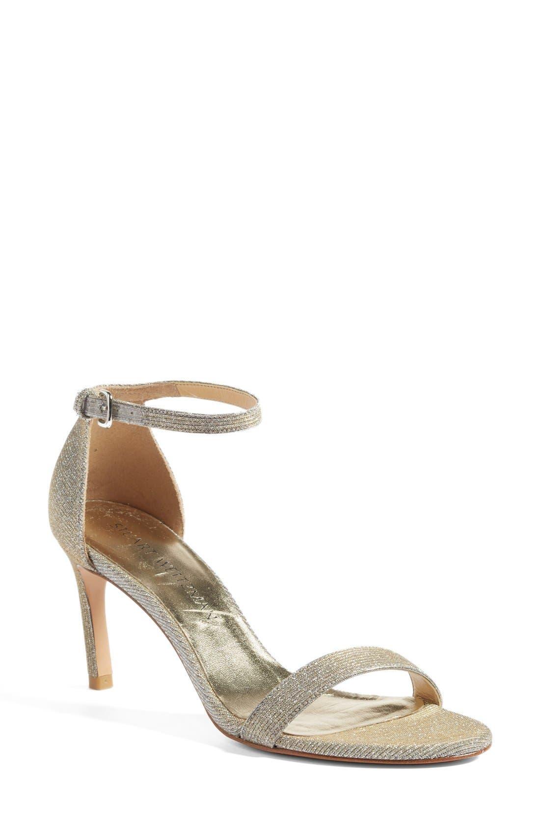 Stuart Weitzman 'Nunaked' Leather Ankle Strap Sandal (Women)