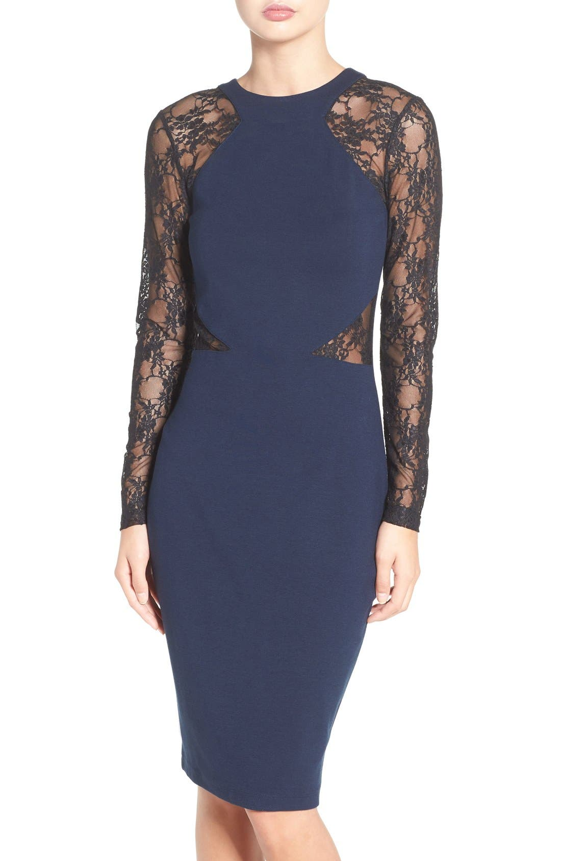 Main Image - French Connection 'Viven' Lace Long Sleeve Sheath Dress