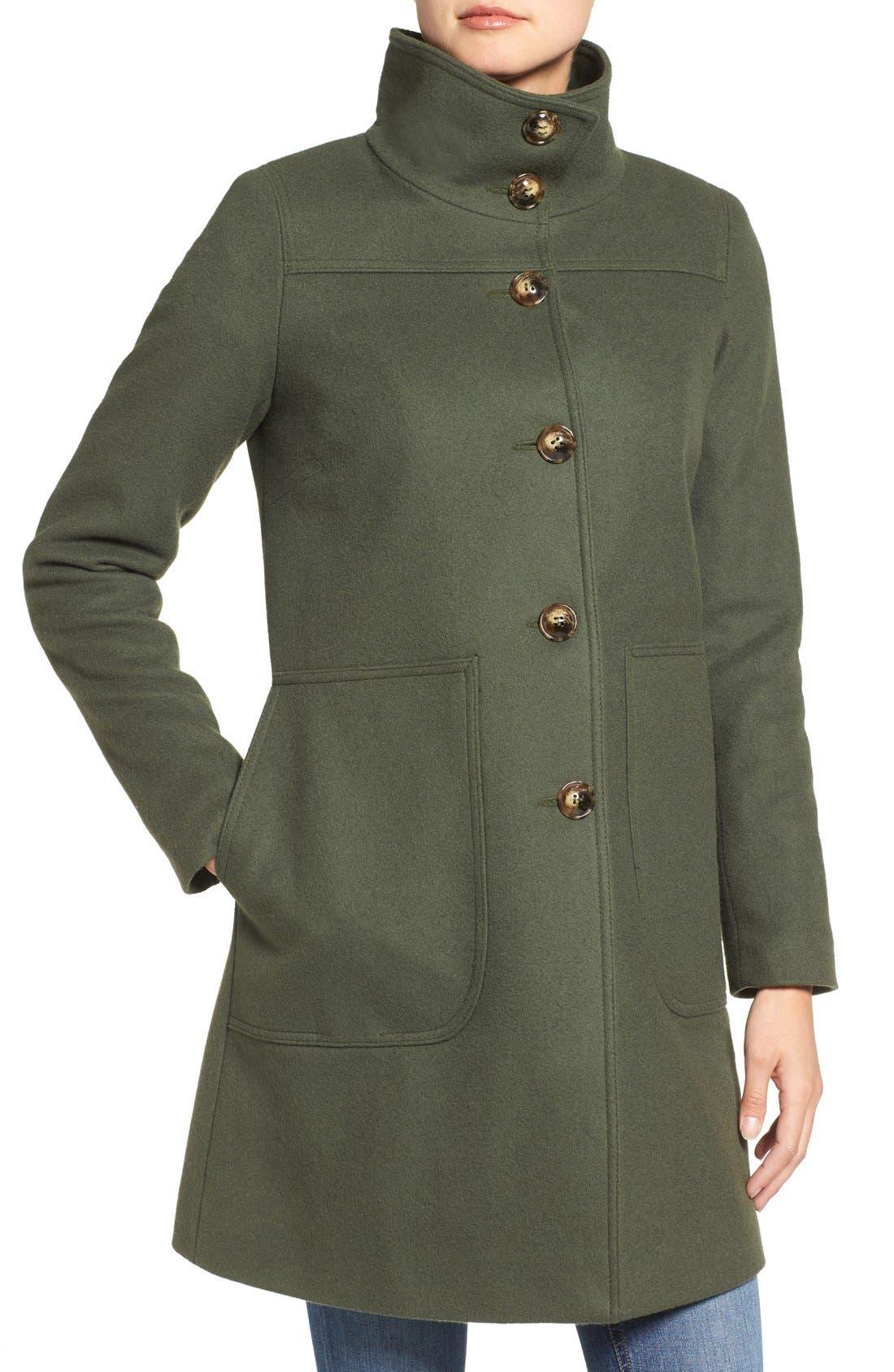 Funnel Neck Wool Blend Coat,                             Alternate thumbnail 5, color,                             Moss