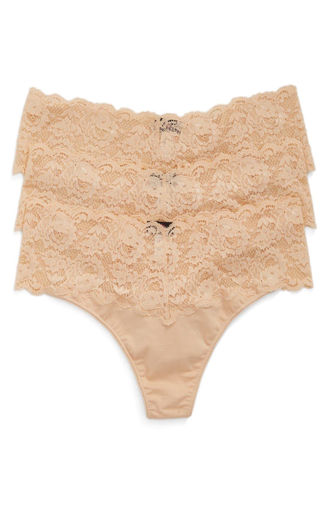 'Lovelie' Lace Trim Thong,                         Main,                         color, Blush/ Blush/ Blush