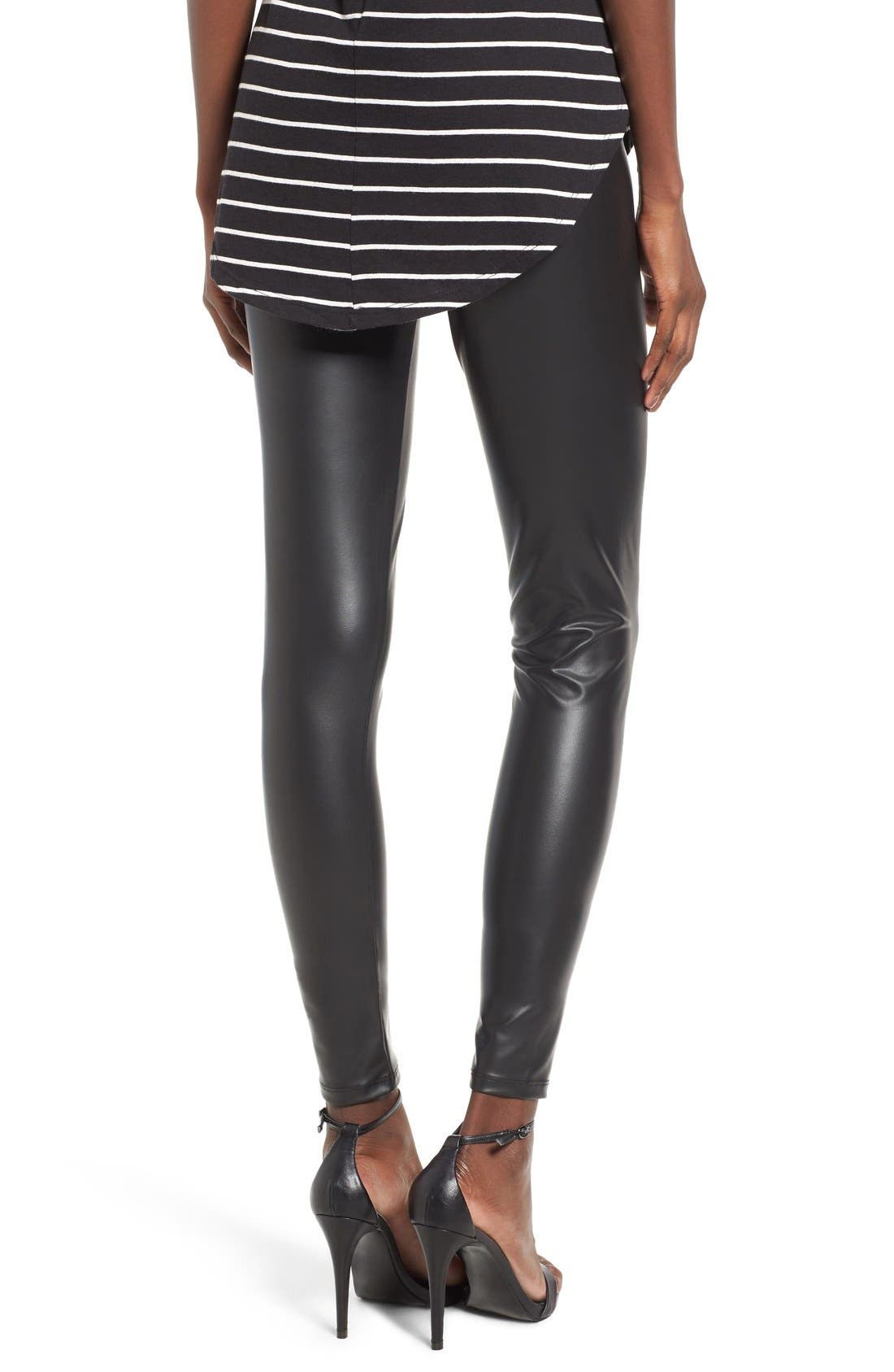 Faux Leather Leggings,                             Alternate thumbnail 2, color,                             Black