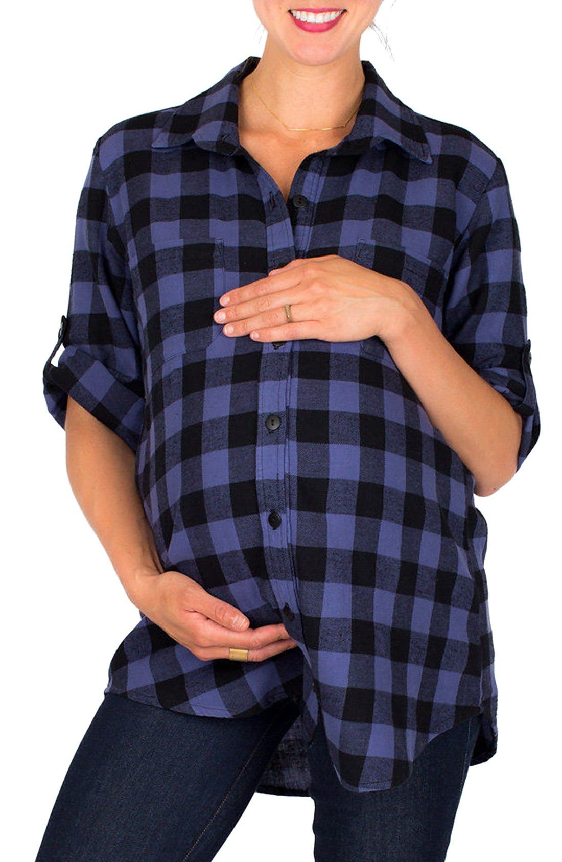 Alternate Image 1 Selected - Nom Maternity 'Campbell' Plaid Maternity Top