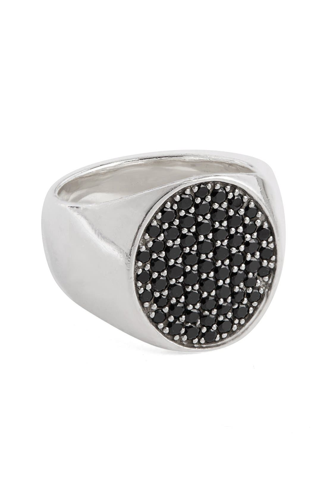 Black Spinel Oval Pinkie Ring,                         Main,                         color, Silver Black Spinel