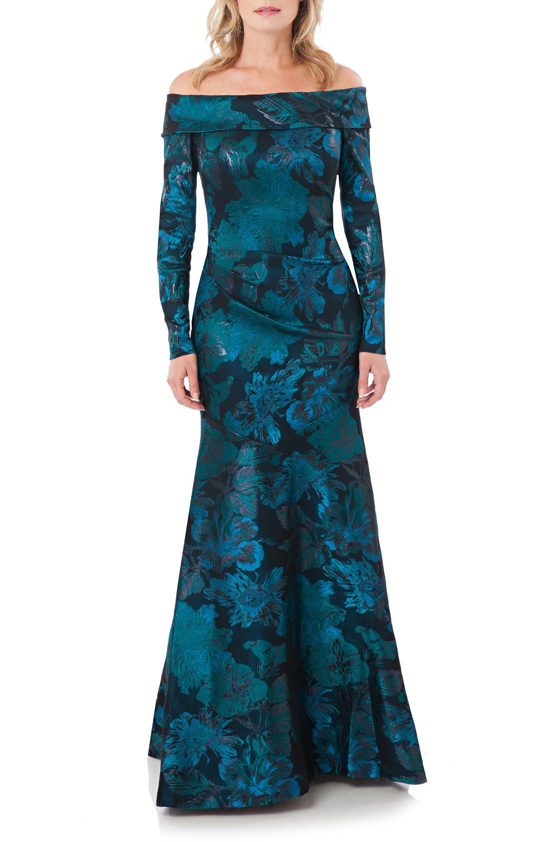 Main Image - Theia Metallic Floral Jacquard Mermaid Gown