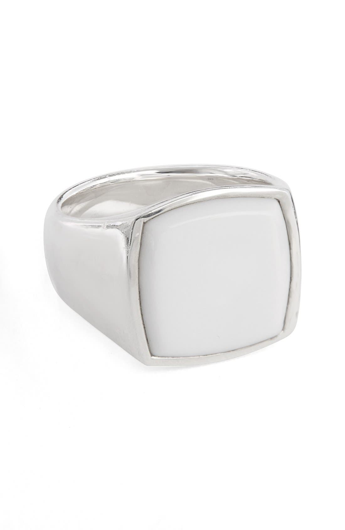 White Agate Cushion Signet Ring,                         Main,                         color, Silver Agate
