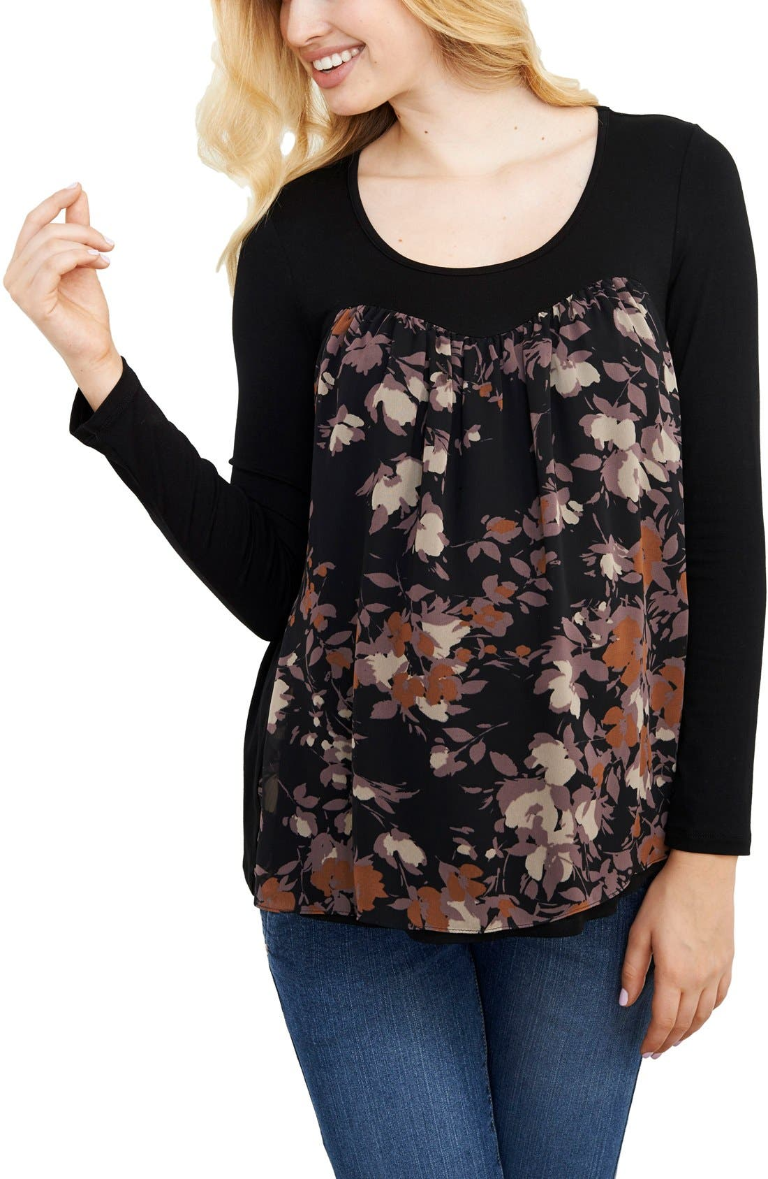Chiffon Knit Maternity Top,                         Main,                         color, Black/ Lilac Floral Print