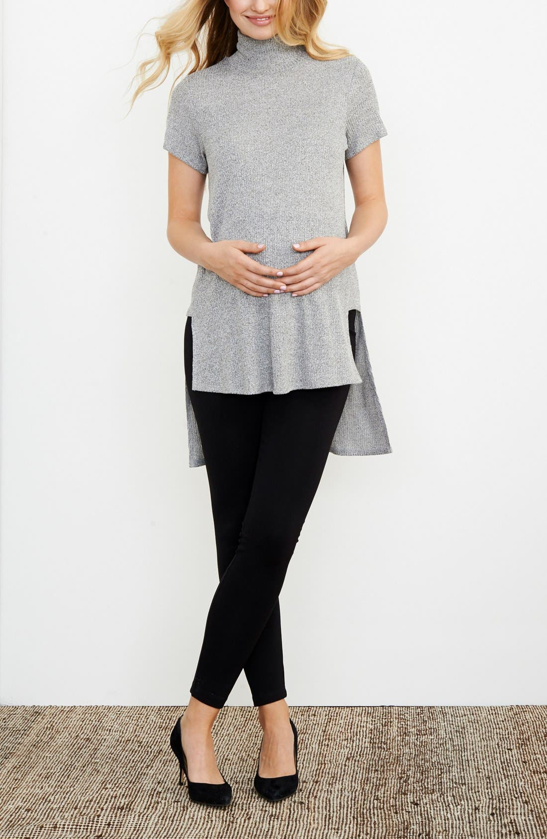 Alternate Image 2  - Maternal America Turtleneck High/Low Maternity Top