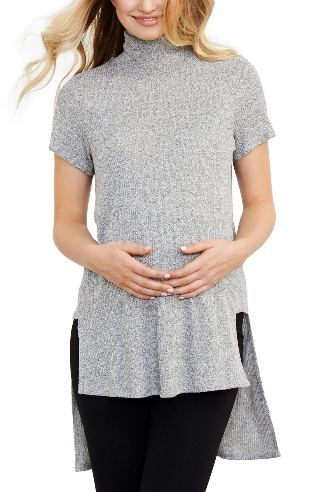 Turtleneck High/Low Maternity Top,                         Main,                         color, Grey