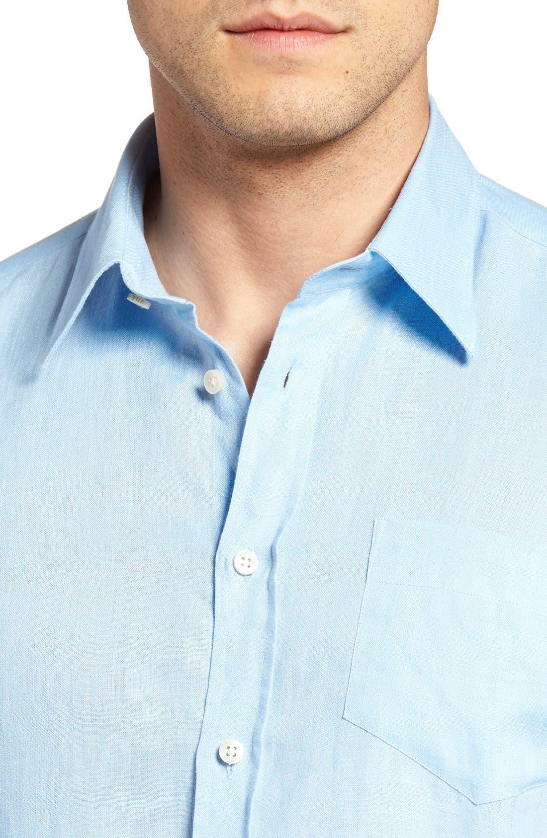 Caroubie Regular Fit Linen Sport Shirt,                             Alternate thumbnail 2, color,                             Sky Blue