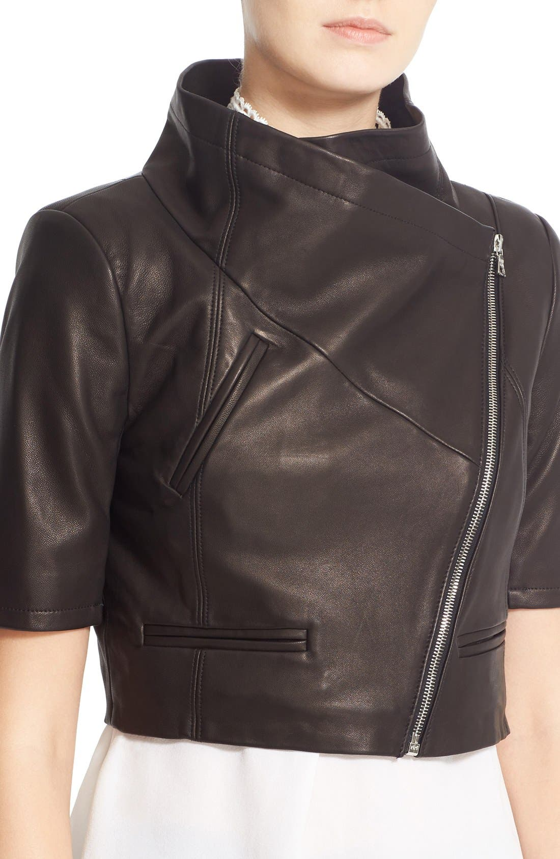 'Gimmy' Crop Lambskin Leather Jacket,                             Alternate thumbnail 6, color,                             Jet