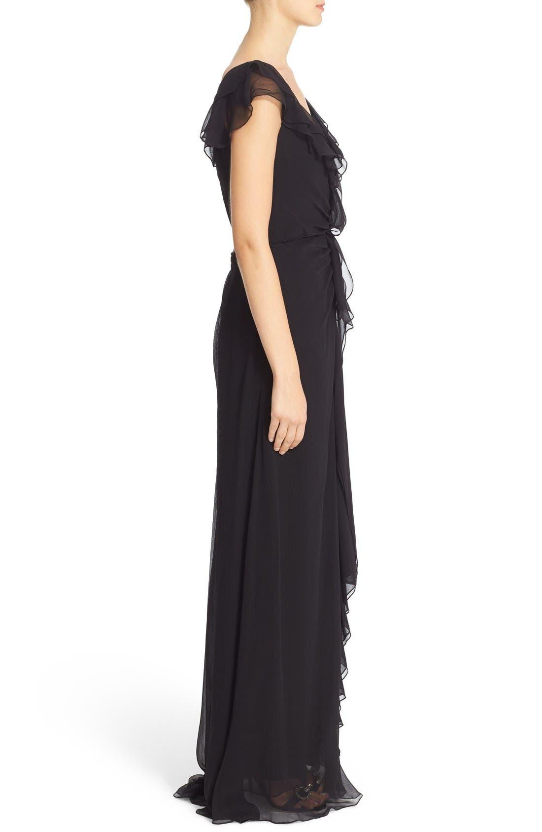 Alternate Image 4  - Carolina Herrera Ruffled Chiffon Column Gown