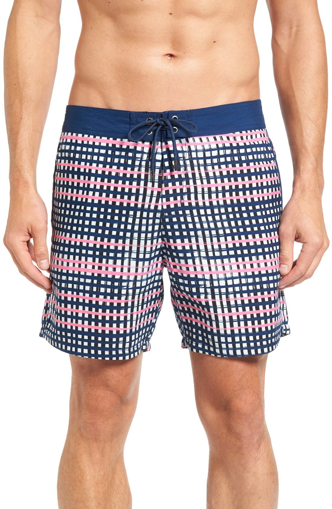 Plaid Board Shorts,                         Main,                         color, Navy