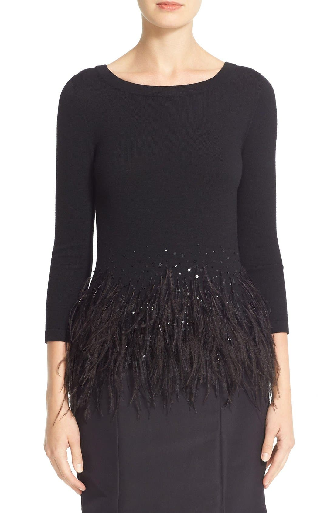 Sequin & Feather Trim Wool Sweater,                         Main,                         color, Black