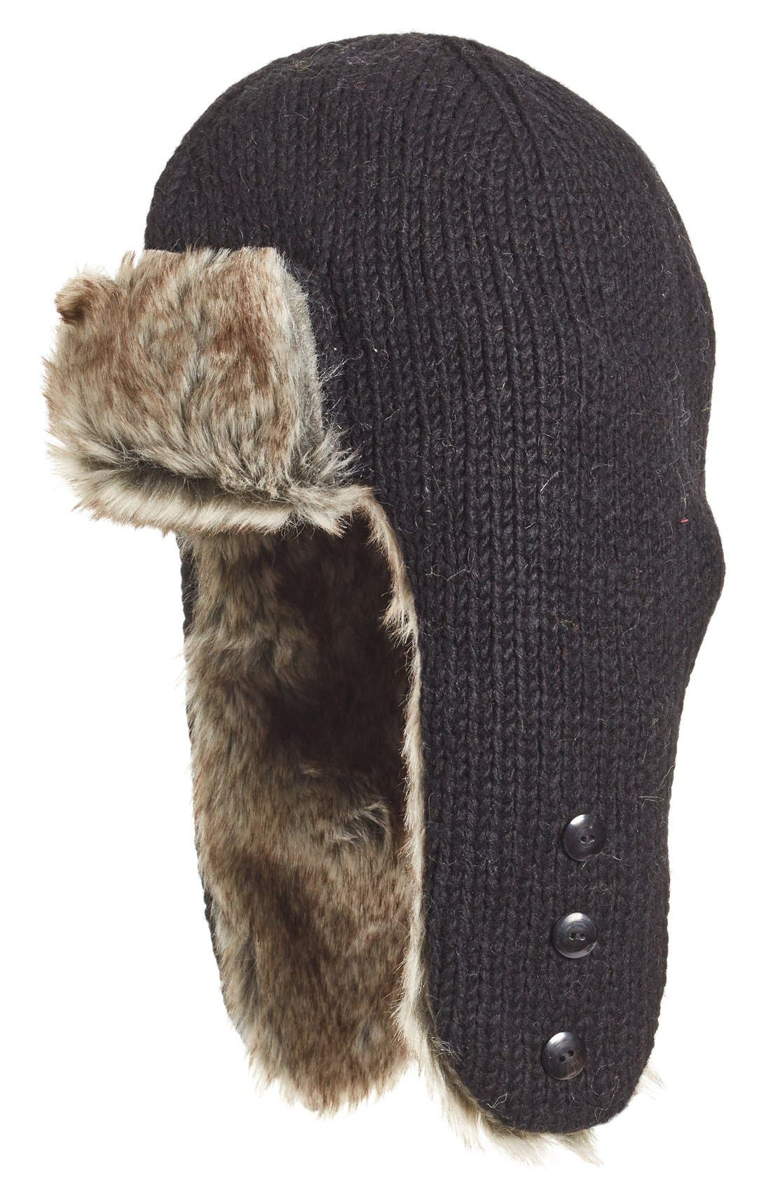 Nirvanna Designs Earflap Hat with Faux Fur Trim
