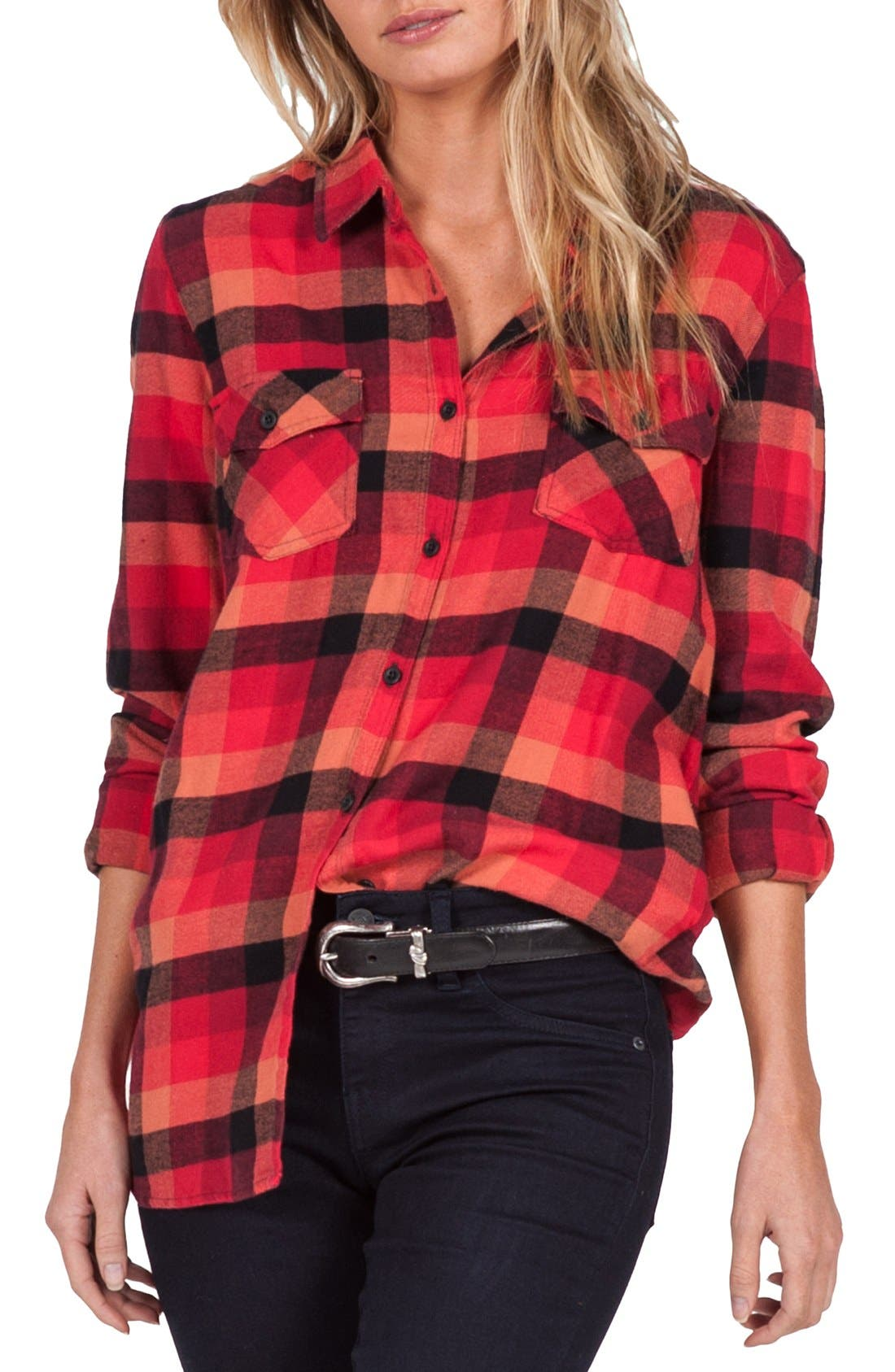 Alternate Image 3  - Volcom Desert High Plaid Top
