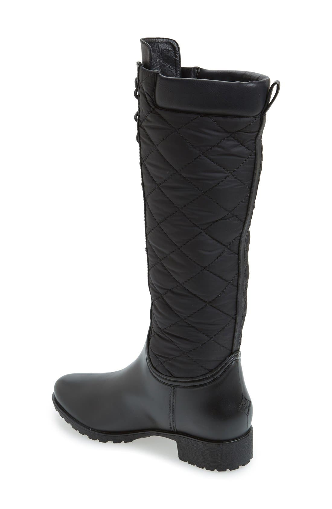 'Tofino' Quilted Tall Waterproof Rain Boot,                             Alternate thumbnail 2, color,                             Black