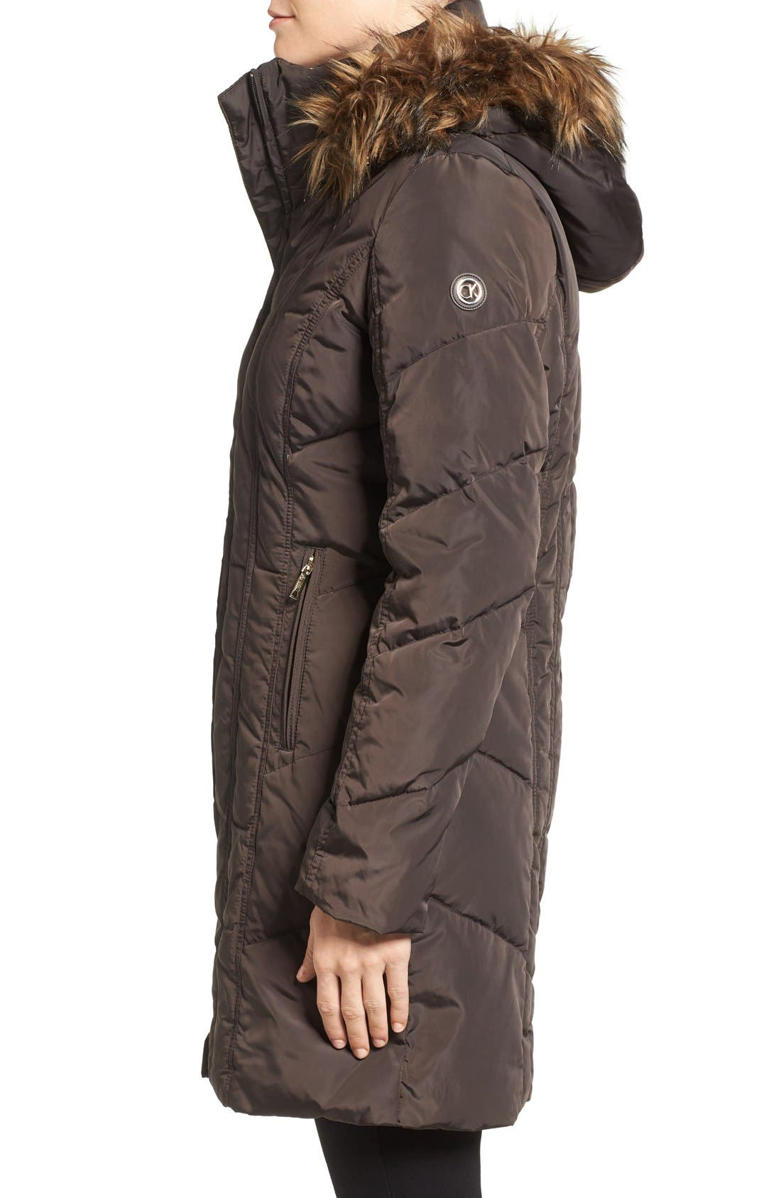 Alternate Image 3  - Calvin Klein Down & Feather Fill Coat with Faux Fur Trim Hood (Regular & Petite)