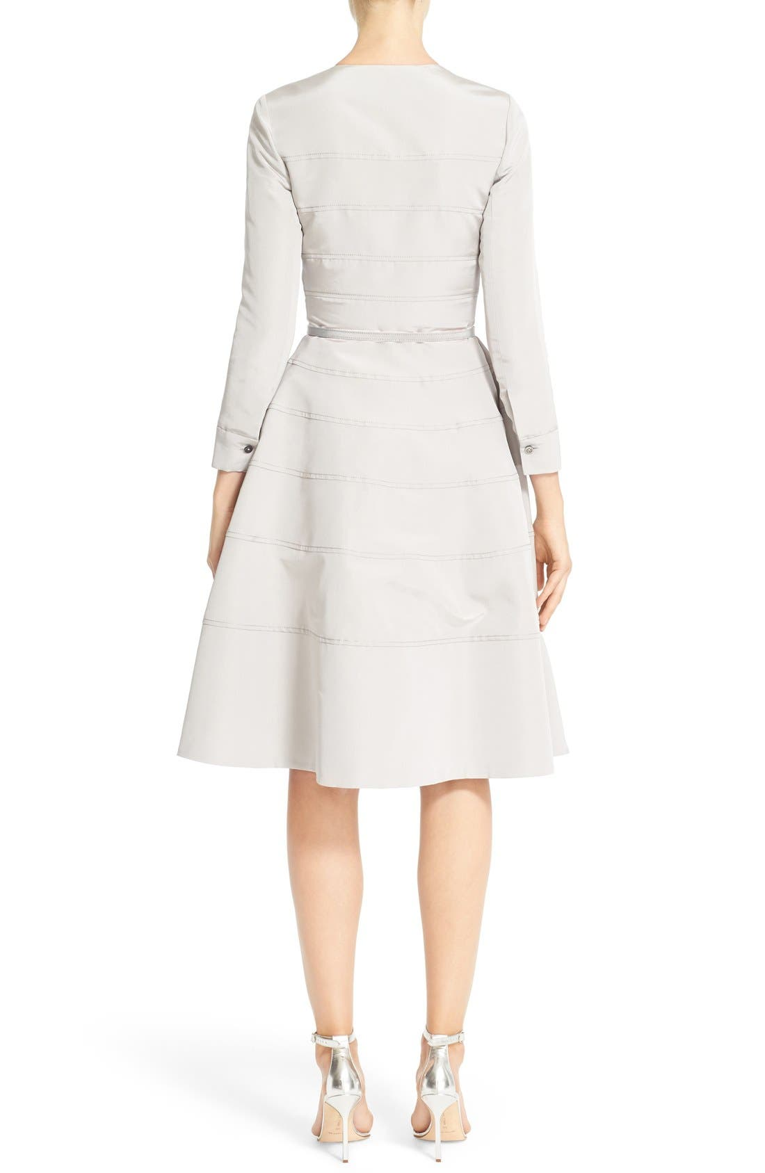 Alternate Image 2  - Carolina Herrera Embellished Belted Silk Faille A-Line Dress