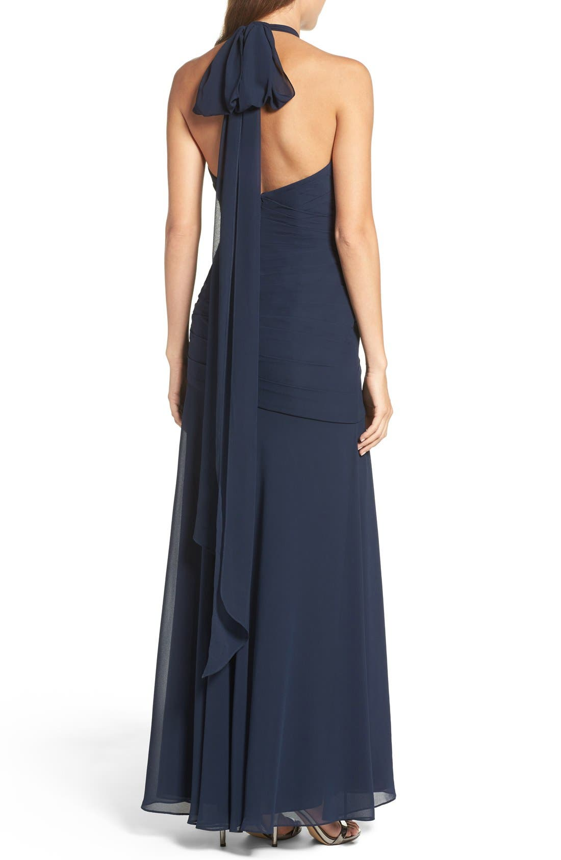 Alternate Image 2  - WTOO Chiffon Halter Gown