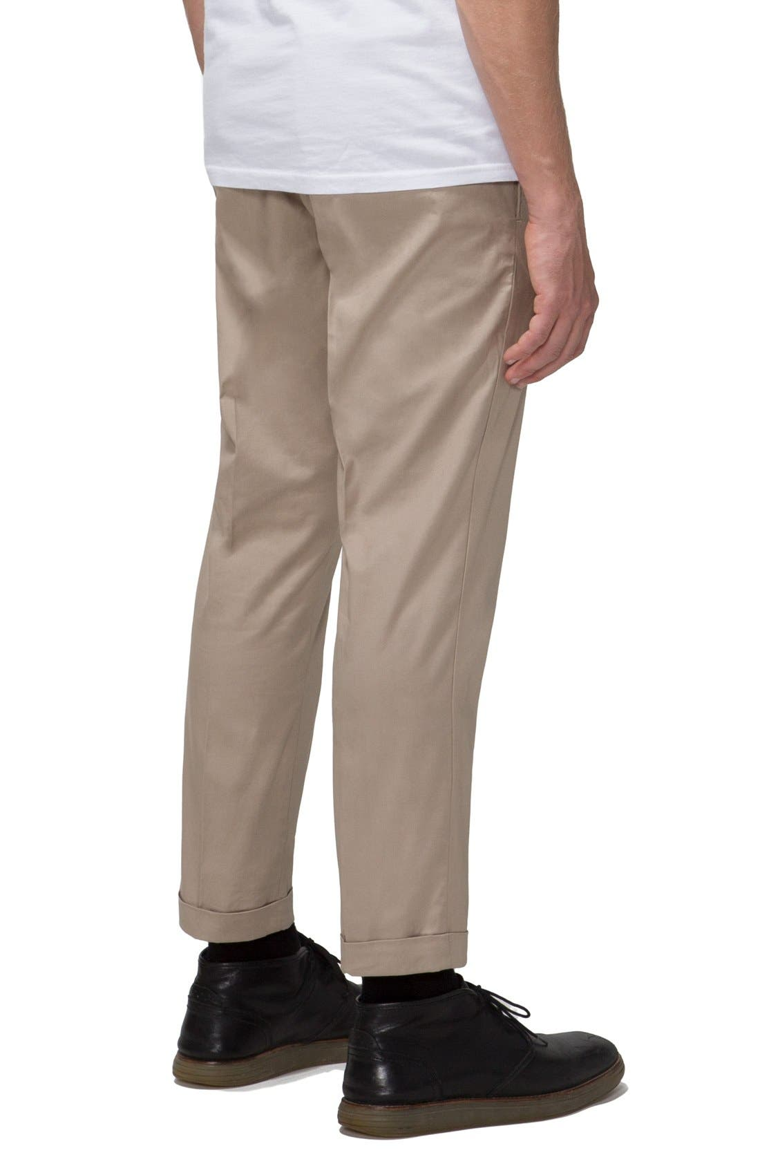 'Arroyo' Crop Stretch Chinos,                             Alternate thumbnail 3, color,                             Clay