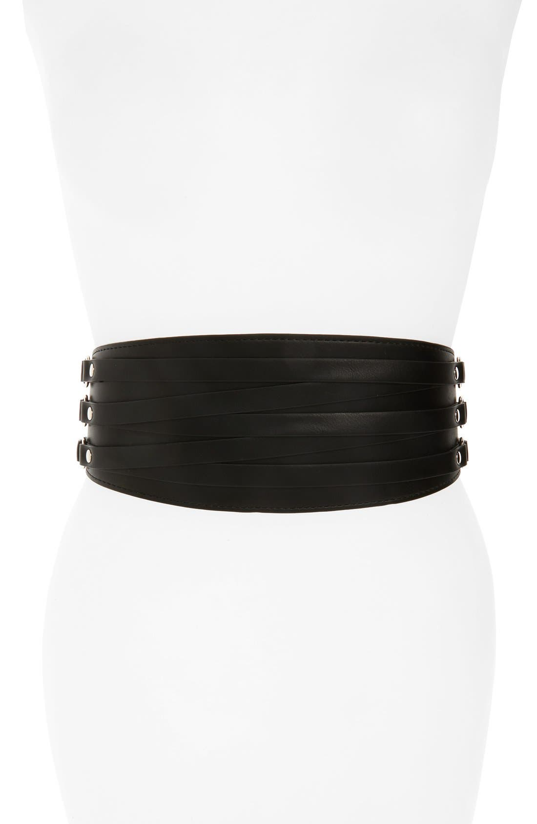 Wide Faux Leather Belt,                         Main,                         color, Black