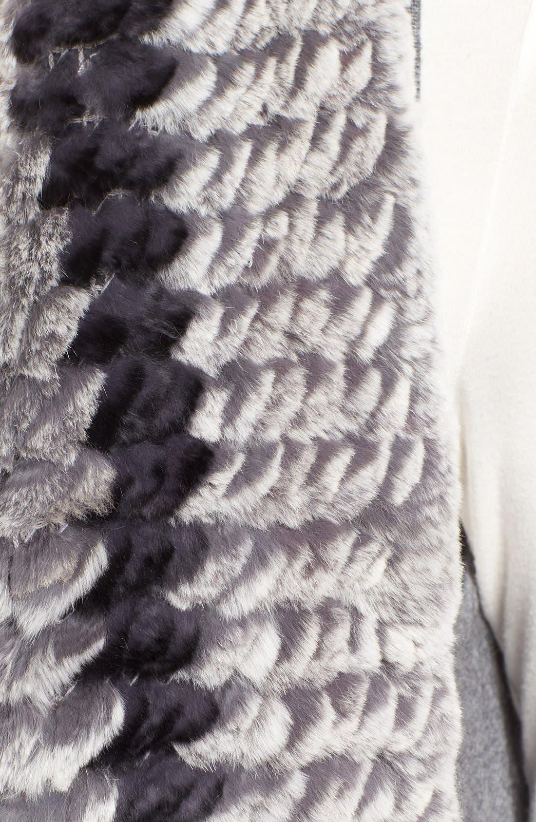 Cashmere Drape Vest with Genuine Rex Rabbit Fur Trim,                             Alternate thumbnail 5, color,                             Grey