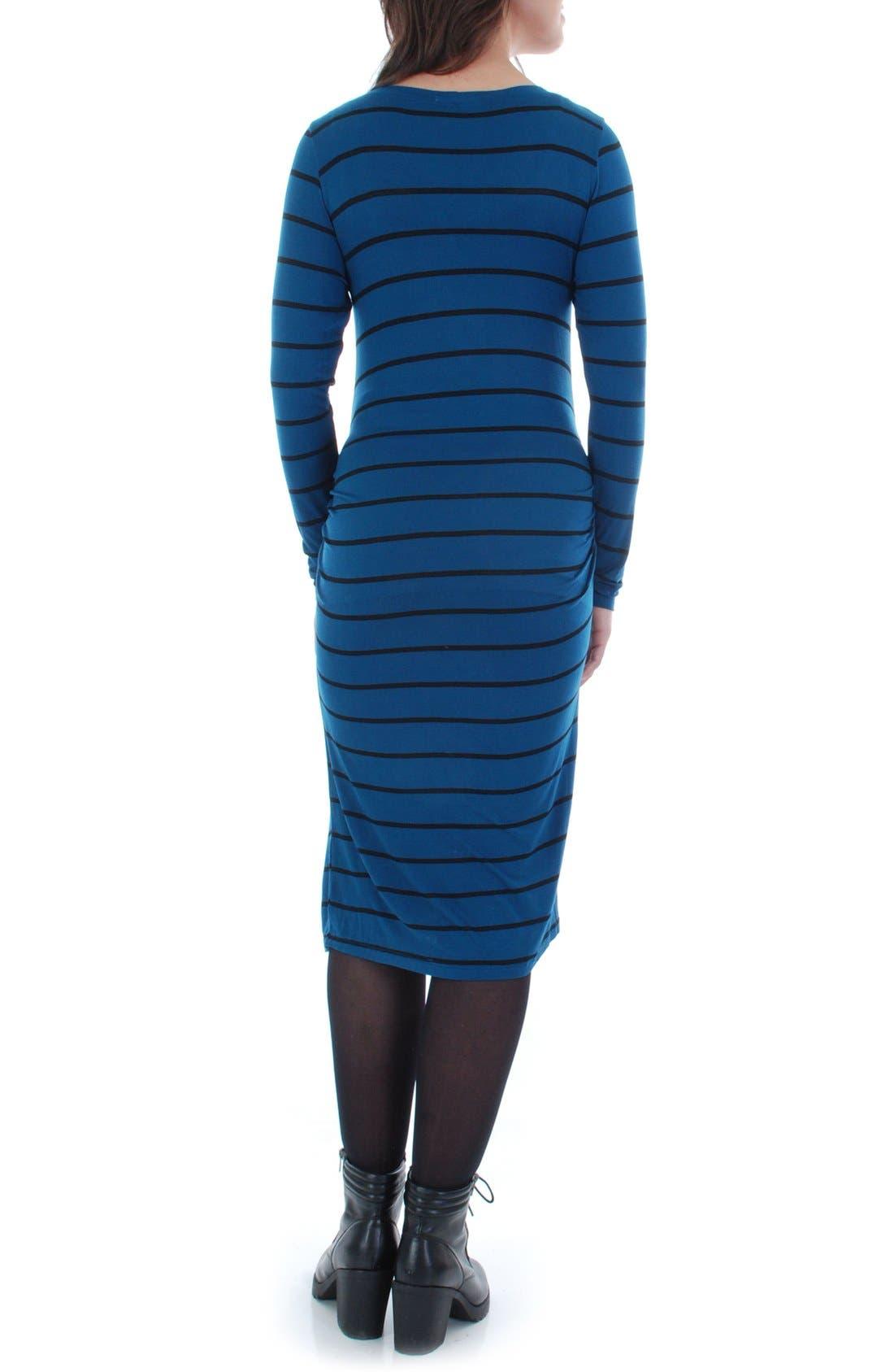 EverlyGrey 'Hanh' Maternity T-Shirt Dress,                             Alternate thumbnail 2, color,                             Teal Stripe