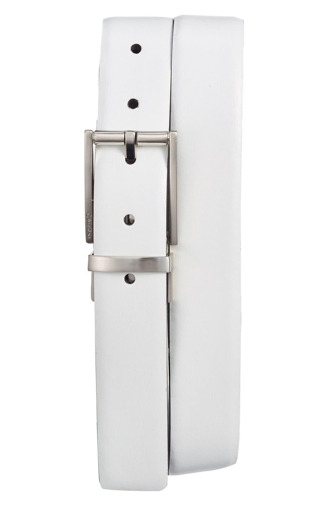 Reversible Leather Belt,                         Main,                         color, Powder White