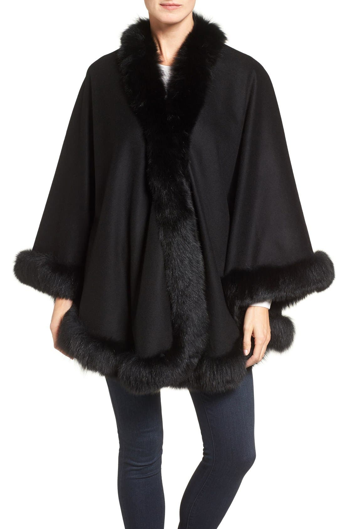 Belle Fare Genuine Fox Fur Trim Cashmere Cape