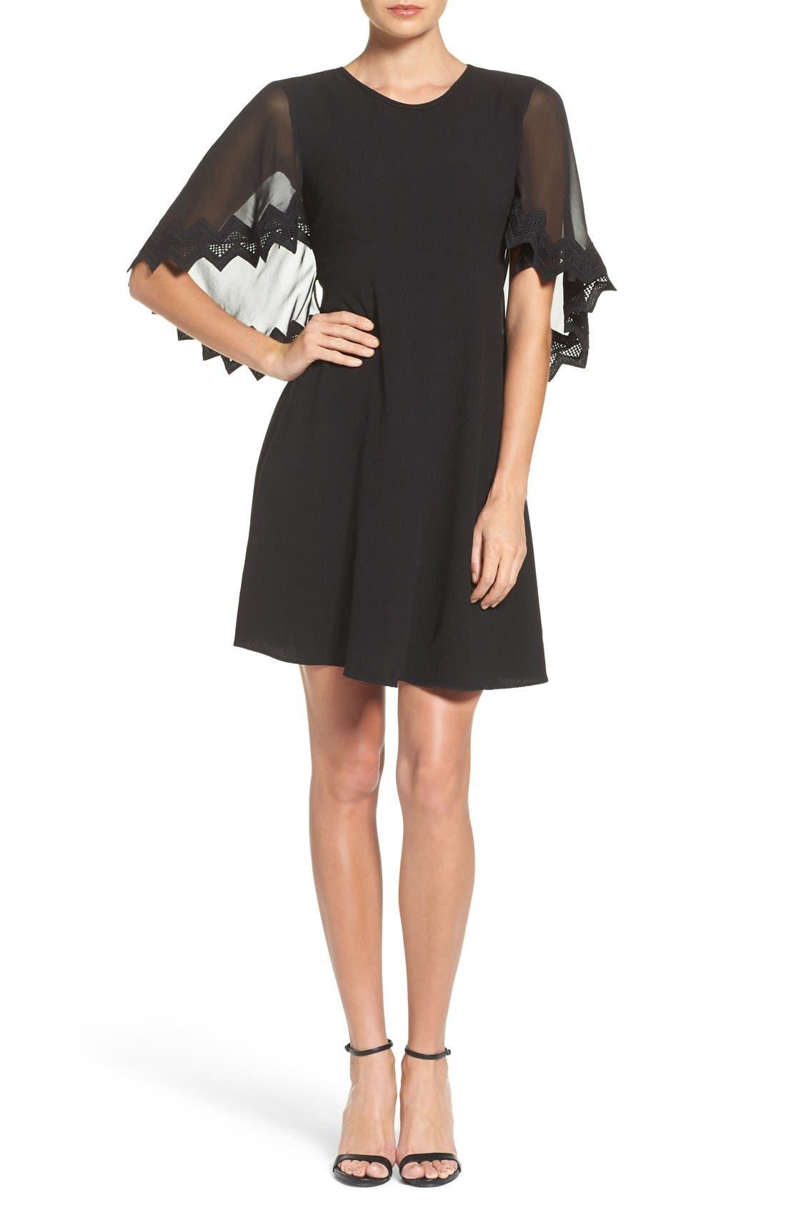 Alternate Image 4  - Taylor Dresses Chiffon Caplet Dress