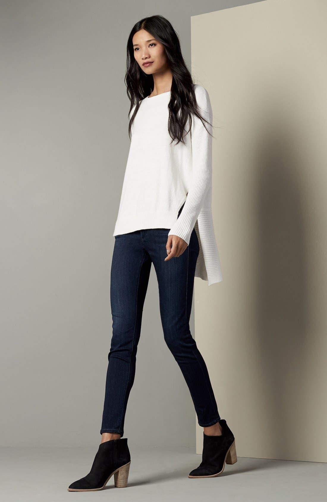 Asymmetrical Hem Sweater,                             Alternate thumbnail 2, color,                             White Snow
