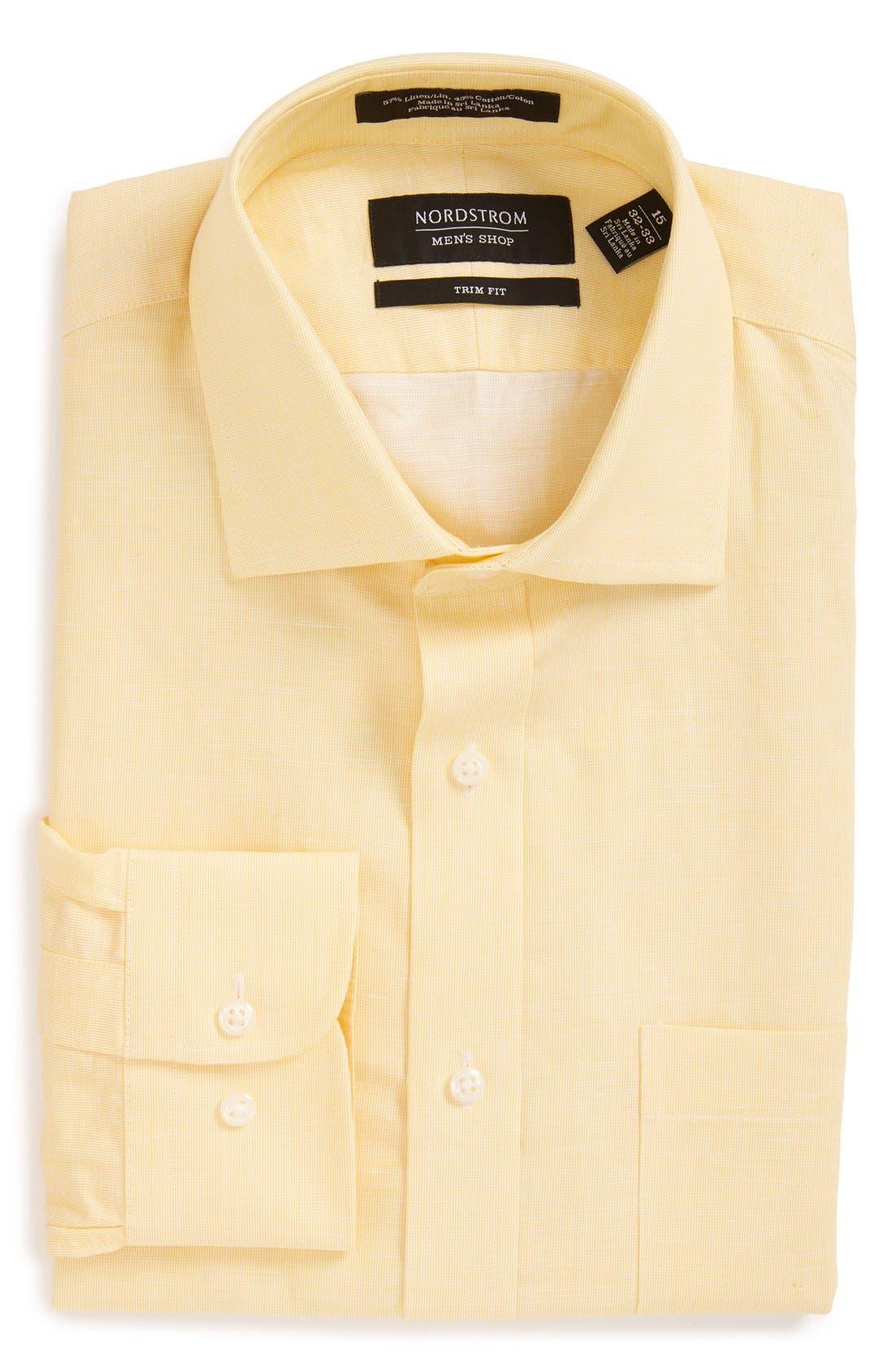 Nordstrom Men's Shop Trim Fit Solid Linen & Cotton Dress Shirt